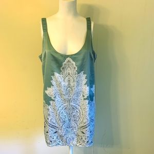 Soft Surroundings Top M Printed Graphic Lace Tank